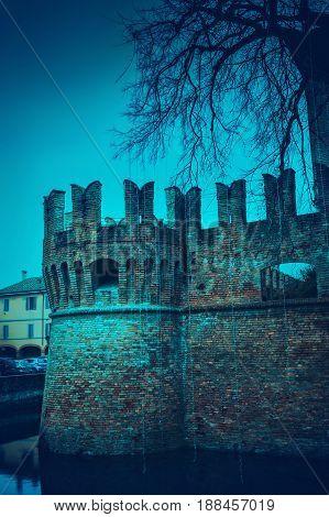 Medieval Rocca Sanvitale Castle In The Night In Fontanellato