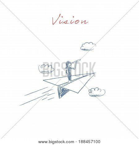 Business woman flying on a paper plane looking ahead through monoscope or telescope. Symbol of business vision, visionary and leadership. Eps10 vector illustration.