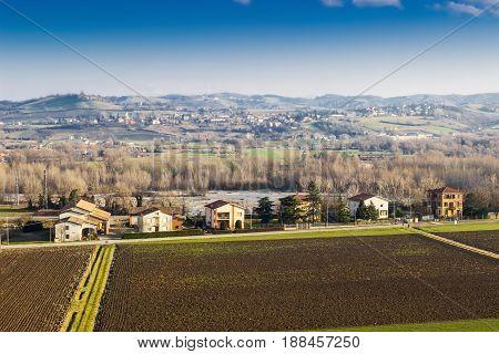 Rural Landscape With Farm Fields In Emilia-romagna