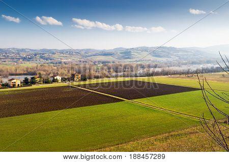 Landscape With Farm Fields In Emilia-romagna Region