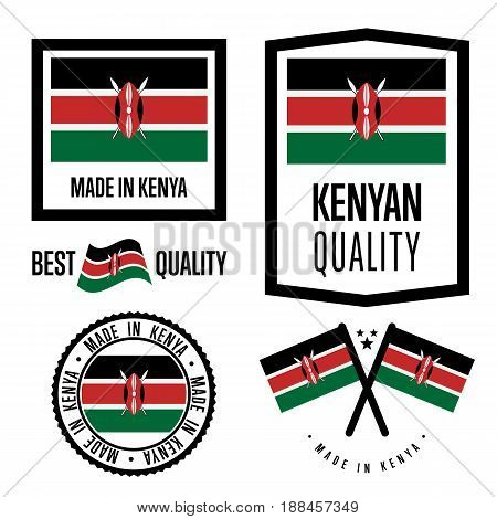 Kenya quality isolated label set for goods. Exporting stamp with kenyan flag, nation manufacturer certificate element, country product vector emblem. Made in Kenya badge collection.