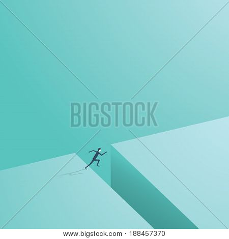 Businessman jumping across gap. Business vector symbol of business risk, adventure, opportunity, challenge. Eps10 vector illustration.