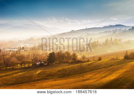 Scenic Nature And Hills At Sunset