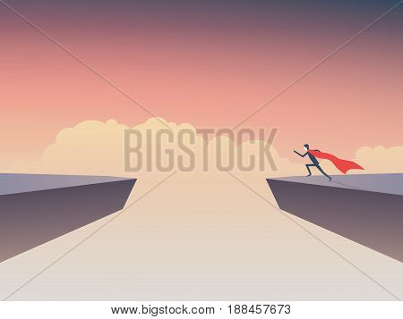 Business superhero businessman running to jump over gap between two cliffs. Eps10 vector illustration.