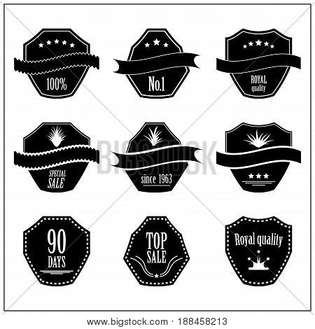 set of quality and guarantee labels with vintage design