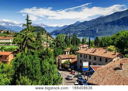 View of Bellagio city Italy. Bellagio is surrounded by lake Como and Alps.