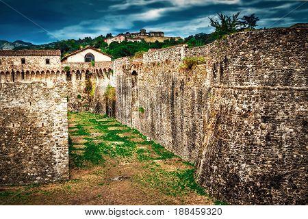 Moat Around The Fortification Of Fortezza Di Sarzanello Castle In Sarzana