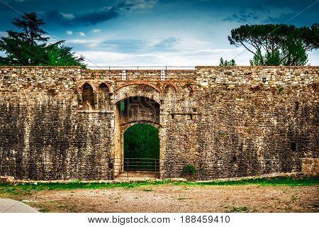 Fortification Wall Of Fortezza Di Sarzanello Castle In Sarzana