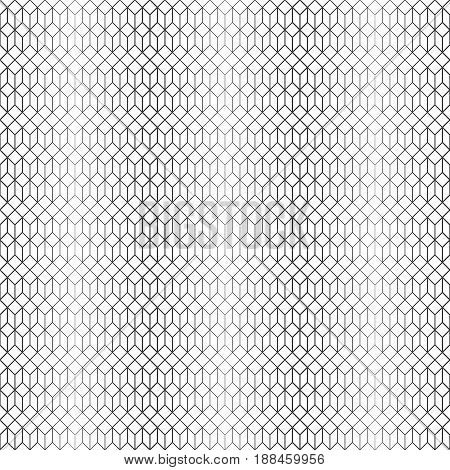 Vector seamless pattern. Infinitely repeating elegant modern geometrical texture. Hexagonal linear grid with hexagons and rhombuses. Halftone effect. Gradation. Thin lines of various thickness