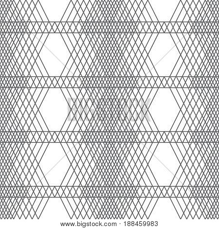Vector seamless pattern. Modern stylish texture with thin lines which form regularly repeating tiled rhombus linear grid. Abstract geometric background