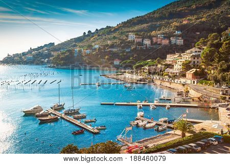 Sea bay in Portovenere Italy. Nature in summer.