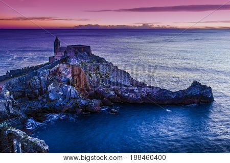 Night View Of The Church Of St. Peter At Sunset In Portovenere
