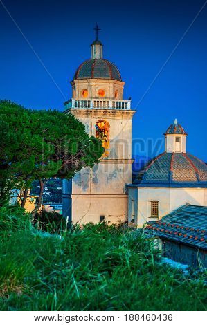 San Lorenzo church in the night in Portovenere Liguria Italy.