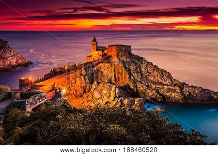 Church Of St. Peter At Sunset In Porto Venere