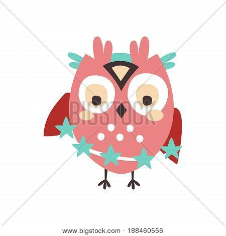 Dizzy cartoon owl bird colorful character vector Illustration isolated on a white background
