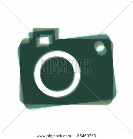 Digital camera sign. Vector. Colorful icon shaked with vertical axis at white background. Isolated.