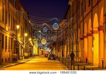 Scenic Old Night Street In Reggio Emilia
