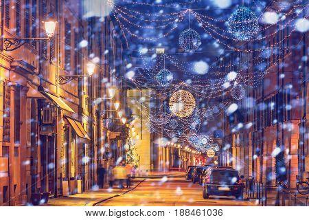 Festive Old Night Street In Reggio Emilia