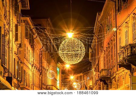 Night Street In Reggio Emilia