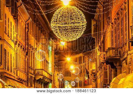 Night Street On Holidays