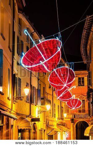 Red Umbrellas Decorates Night Street
