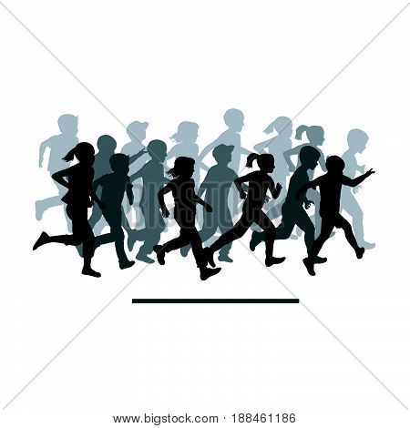 Group of children silhouettes running on white background
