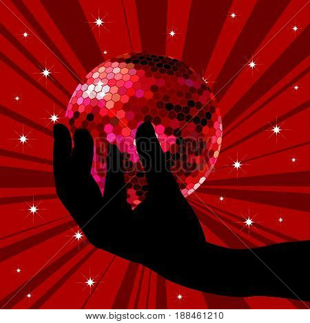 Hand silhouette holding a red disco ball