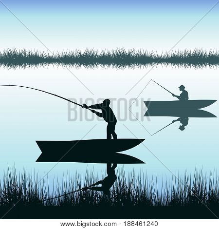 Men silhouettes fishing on lake from boat