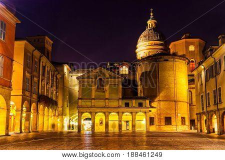 Beautiful Night View Of Piazza San Prospero In Reggio Emilia