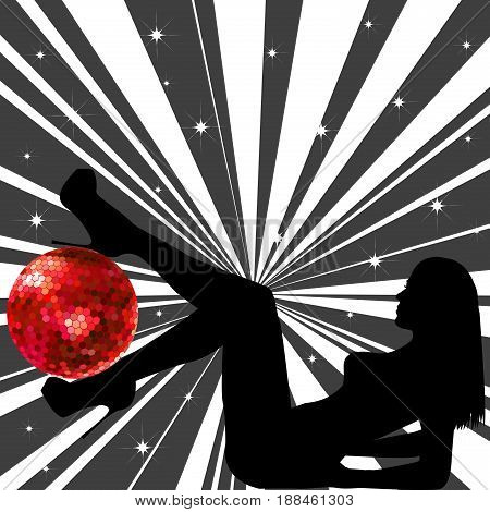 Black woman silhouette with red  disco ball