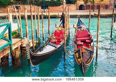 Famous gondola boats in Venice Italy. Travel.