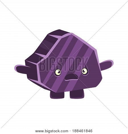 Purple puzzled rock element. Cartoon emotions character vector Illustration isolated on a white background