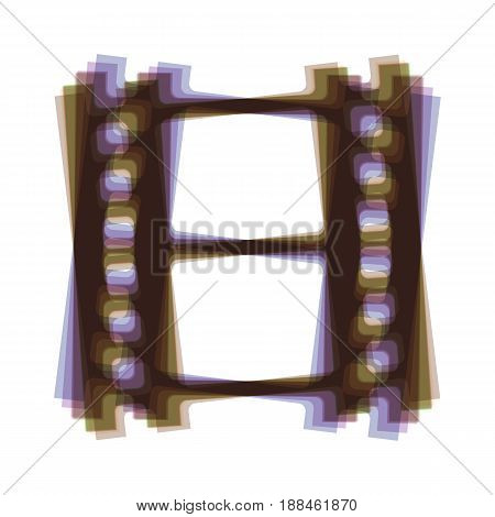 Reel of film sign. Vector. Colorful icon shaked with vertical axis at white background. Isolated.