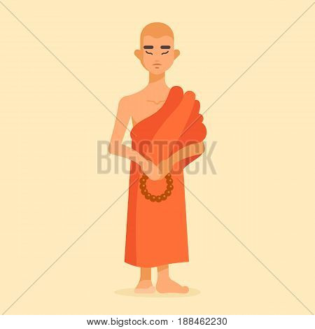 Vector illustration of shaved buddhist monk. Full-length person image. He stands and keeps a rosary. Orange cape. His eyes are closed. Meditation and pacification
