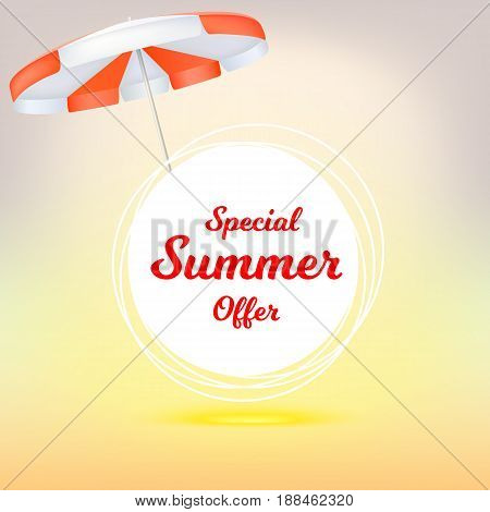 Special summer offer, ad summer banner with sun umbrella. Hot offers on backdrop of sun. Seasonal shopping concept. Promotion template for your online shopping, retail business, advertising banners