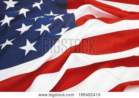Close Up Studio Shot Of Usa Flag