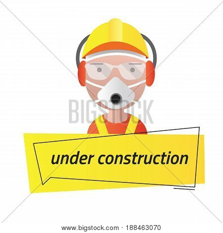 Message under construction. Head avatar of the builder's man. Editable eps10 Vector. Transparent background.
