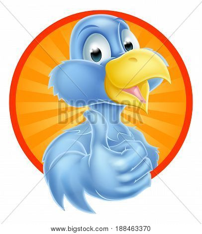 A cartoon cute bluebird blue bird mascot giving a thumbs up