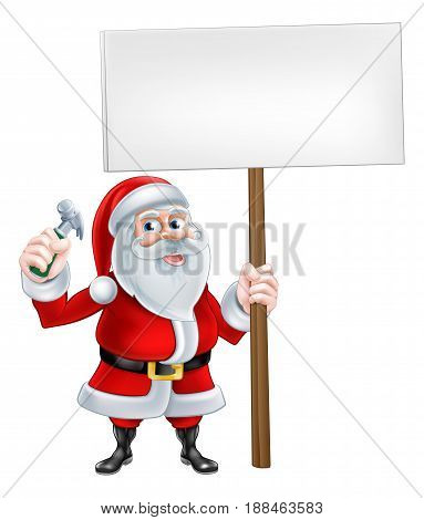 A Christmas cartoon Santa Claus holding sign and hammer tool
