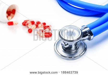 Stethoscope With Tablets  Isolated