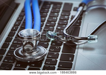 Stethoscope On Laptop. Computer Antivirus Concept