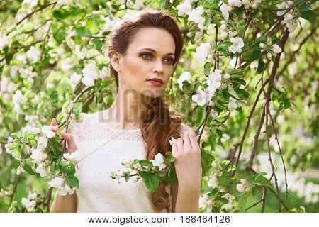 Beautiful Woman Near The Blossoming Spring Tree