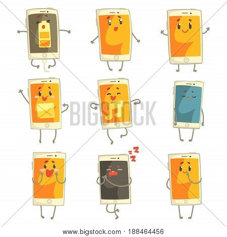 Cute cartoon emoticon phones with funny faces set. Smartphones with different emoticons characters isolated on white background