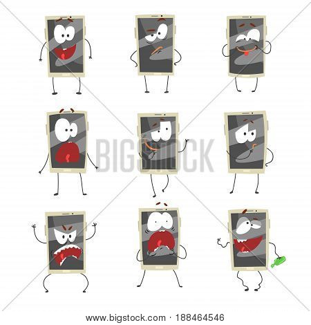 Cute cartoon emoticon phones with gray faces set. Smartphones with different emoticons characters isolated on white background