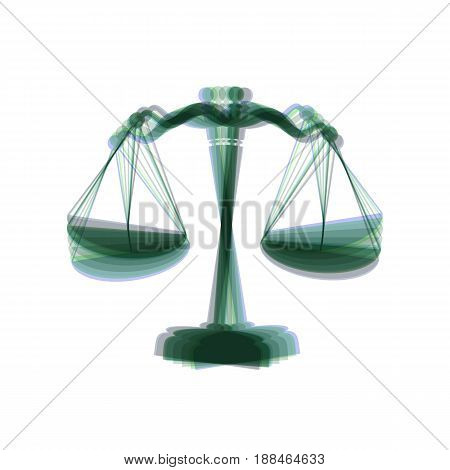 Scales balance sign. Vector. Colorful icon shaked with vertical axis at white background. Isolated.