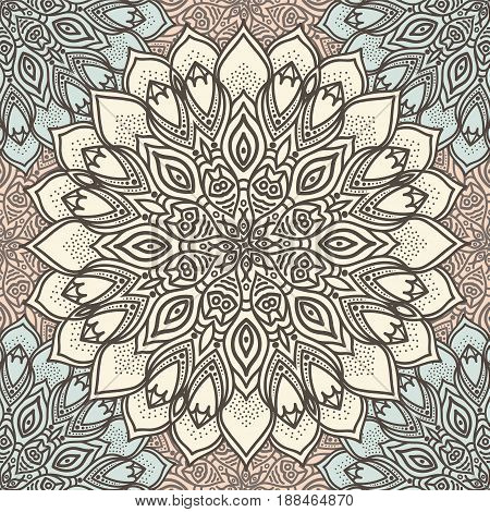 Highly detailed mandala seamless pattern in a pastel tones. Ethnic motive. Vector.