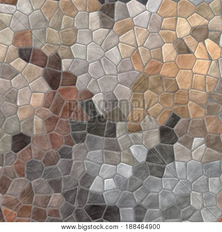 abstract nature marble plastic stony mosaic tiles texture background with gray grout - beige colors