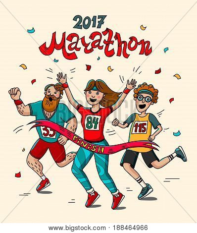 Man, teenager and woman runner cross the finish line. Cartoon style. Marathon 2017. Vector illustration.