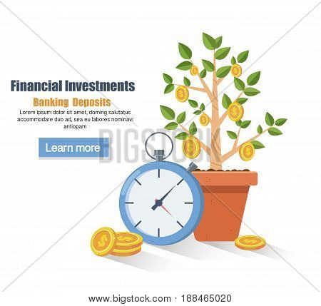 Deposit. Saving money concept. Financial profit growth. Increase in profit. Growth process plant-money. vector illustration in flat style