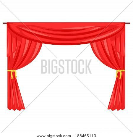 Theater stage drape curtain vector Illustration isolated on a white background